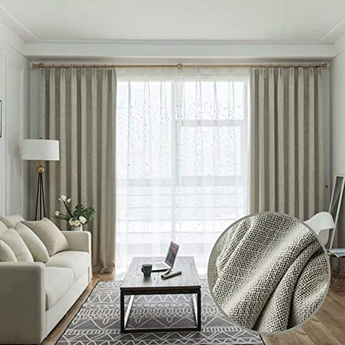 MacoHome Linen Textured Curtain Solid Room Darkening Window Treatment