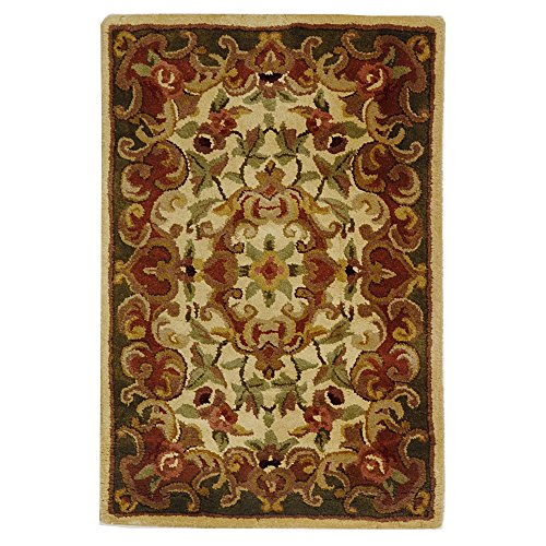Safavieh Classic Collection CL234C Handmade Traditional Oriental Ivory and Green Wool Area Rug (2