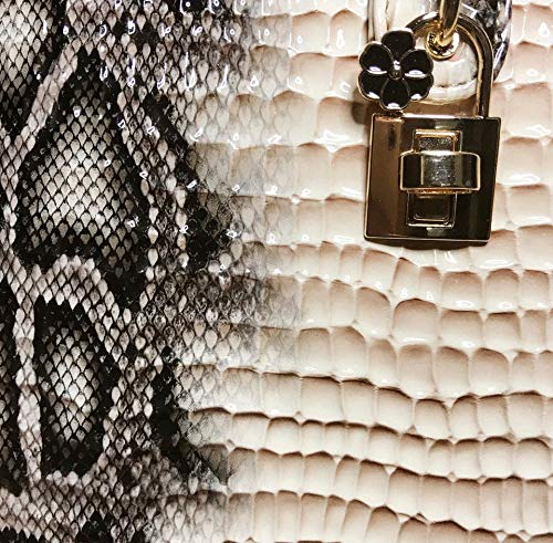 White Grey Snake skin pattern Fashion week Designer Inspired Handle Tote Bag Shoulder chain Trunk case Vintage bag.