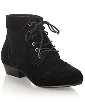 Women's Pointy Toe Oxford Low Chunky Heel Lace Up Ankle Bootie Boots With Collar Flip Over BLACK SUEDE (6)