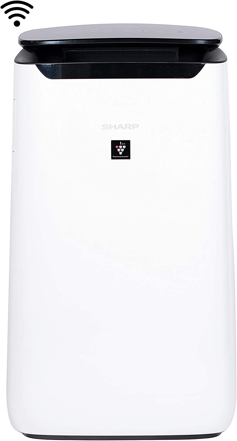 Sharp FXJ80UW IoT Wi-Fi Enabled Plasmacluster Ion Purifier Air App & True HEPA for Large Rooms, 502 Square Feet, White