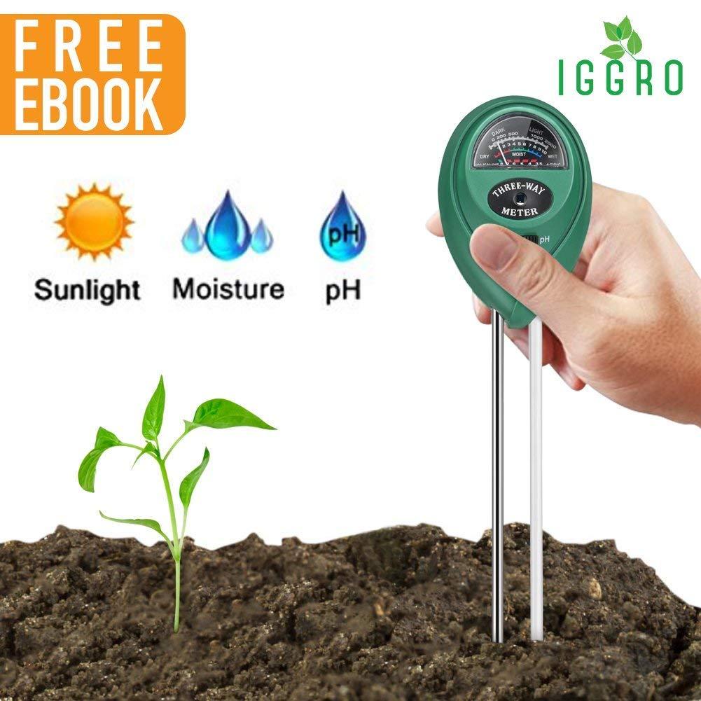 3 in 1 Soil Tester with Soil Moisture Meter Soil pH Meter and Sunlight Sensor, Soil Testing Kit for Garden Farm Lawn Promote Indoor or Outdoor Plants Healthy Growth with Secret for Lush Garden Ebook