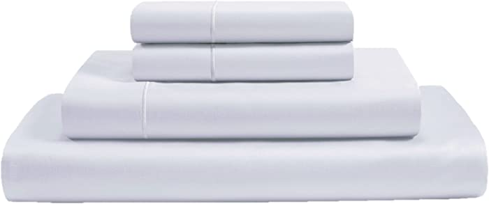 CHATEAU HOME COLLECTION 800-Thread-Count 100% Egyptian Cotton Sheets & Pillowcases Set - Deep Pocket Best Bed Sheets Soft & Silky Sateen Weave Long Staple Combed Cotton King Sheet Set, White