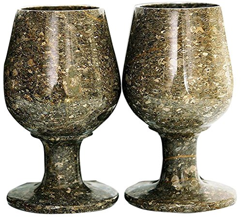 RADICALn Marble Wine Glasses 5.4 Oz 5 x 3 inches - Set of 2 Wine Glasses (Grey Oceanic)
