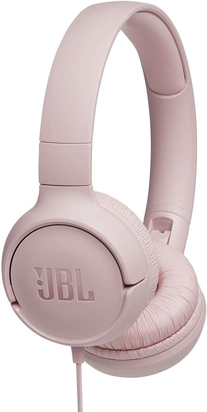 JBL Tune 500 - Auriculares supraaurales de cable y control remoto de un solo botón, micrófono incluido, asistente de voz, rosa