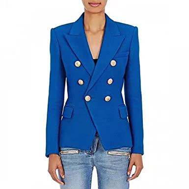 Carmonoudi 2018 Designer Blazer Women S Metal Lion Buttons Double