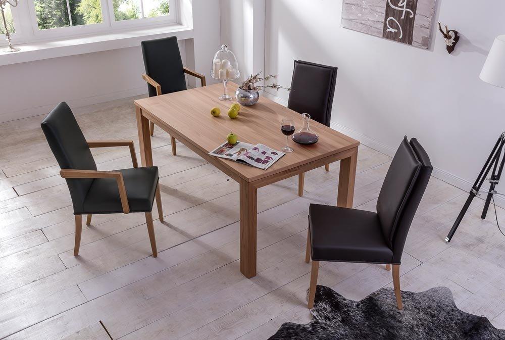 Esstisch aus deutscher Herstellung in Kernbuche, Gestell massiv, Tischplatte furniert, natur Öleffekt-Lack, Maße: 160 x 95 cm, Tischhöhe ca. 77 cm