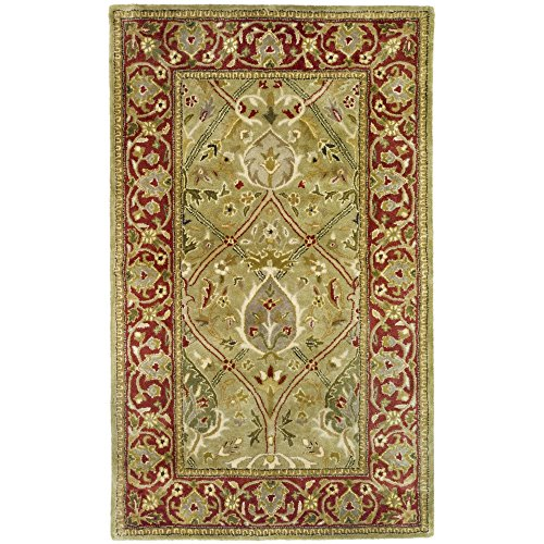 Safavieh Persian Legend Collection PL819B Handmade Traditional Light Green and Rust Wool Area Rug (3′ x 5′) For Sale