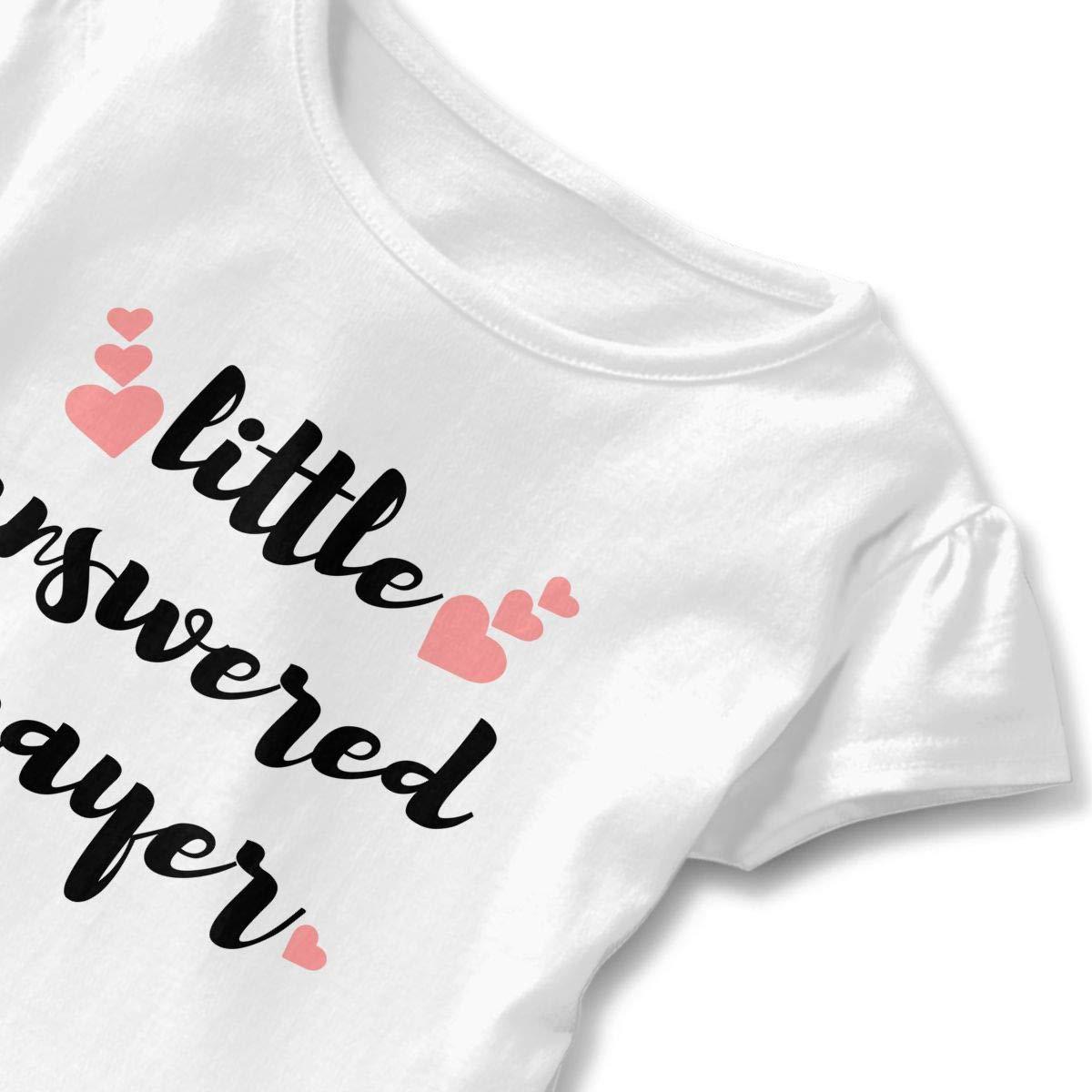 Cheng Jian Bo Little Answered Prayer Heart Toddler Girls T Shirt Kids Cotton Short Sleeve Ruffle Tee