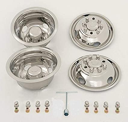 """Ford 16/"""" 8 lug motorhome hubcaps rv simulators front snap on stainless new"""