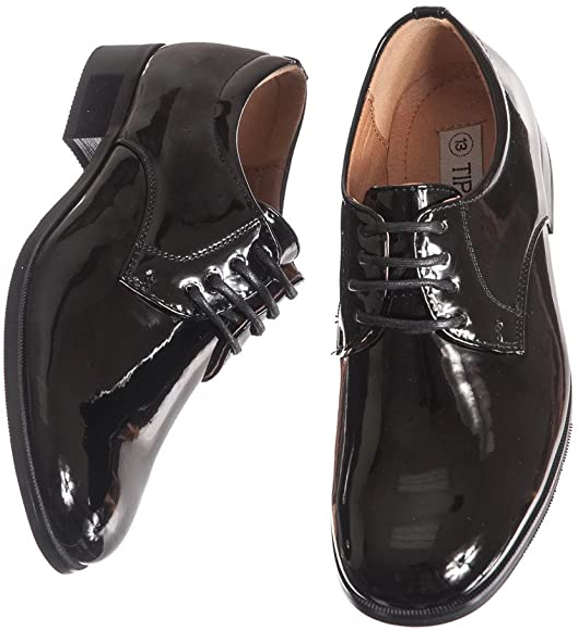 Lito Round Toed Black Shiny Tux Shoes