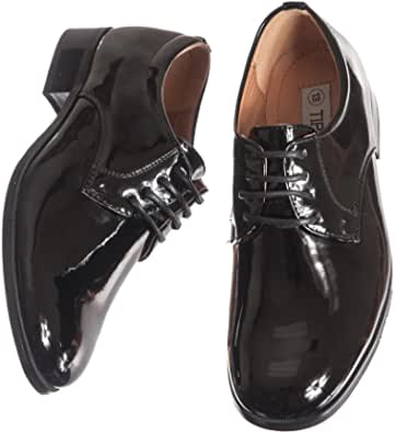 Little Toddler Boys I-355 Formal Tuxedo 2-Tone Cap Toe Oxfords Derby Dress Shoes