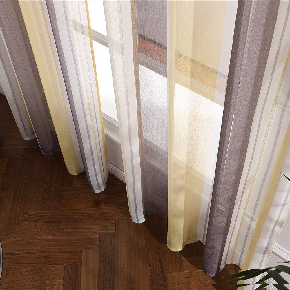 Brown+Yellow MIULEE 2 Panel Contemporary Decorative Ring Top Eyelet Voile Curtains Elegance Pinstripe Sheer Panels for Bedroom Livingroom Nursery Room 55 wide x 96 Drop 140cm x 245cm