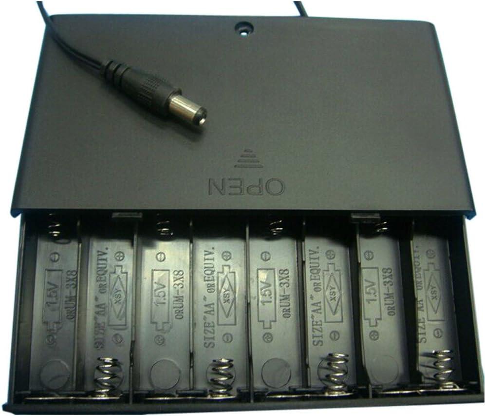 FiedFikt DIY - Caja para 8 Pilas AA (12 V, 8 Compartimentos, con Interruptor de 8 Secciones, con Tapa de Acero Chapado en níquel y plástico ABS, Resistente a los Impactos): Amazon.es: Hogar