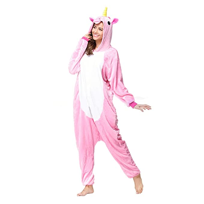 Amazon.com  GRACES Adult Unisex Unicorn Onesie Footed Pajams with Warm  Fleece Slippers (L ad1bf5251