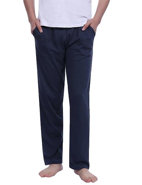 Aibrou Pantalones de Pijama Hombre del 100% Algodón,Muy Suave Cómodo Fino Ligero y