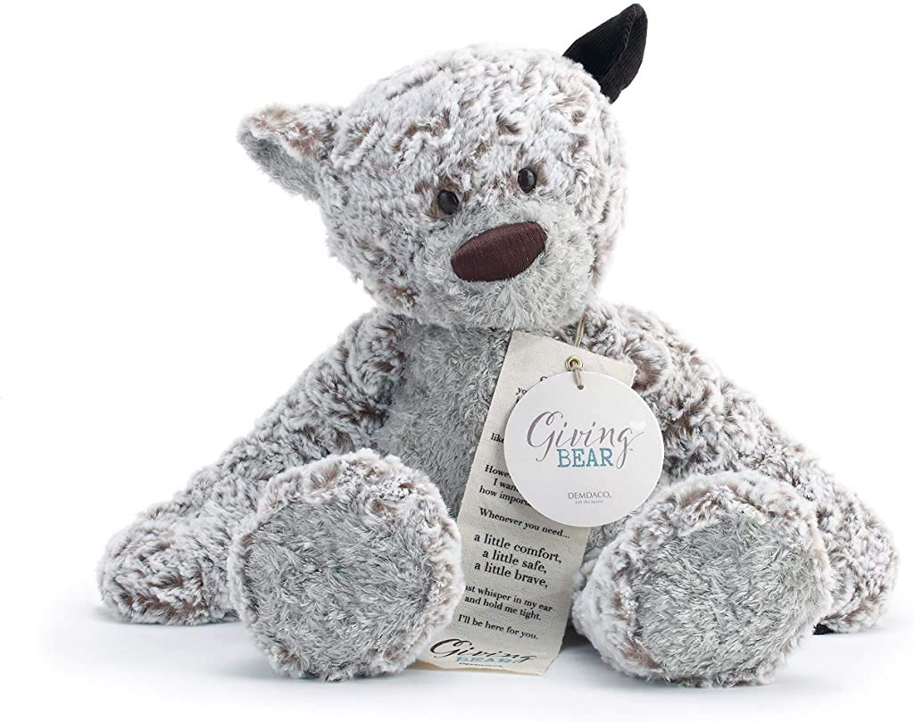 DEMDACO Giving Bear with Corduroy Ear Children's Plush Stuffed Animal Toy