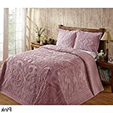 1pc 120 X 110 Oversized Pink Chenille Bedspread King, French Florals Medallion Cotton Classic Vintage Retro Antique Hangs Floor Bedding, Extra Long Wide Soft Country