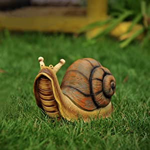 "Danmu 1Pc of Polyresin Snail Statue for Home Garden Lawn Yard Decoration Indoor and Outdoor Statue (L 10.24"" x 4.72"" x 5.9"")"