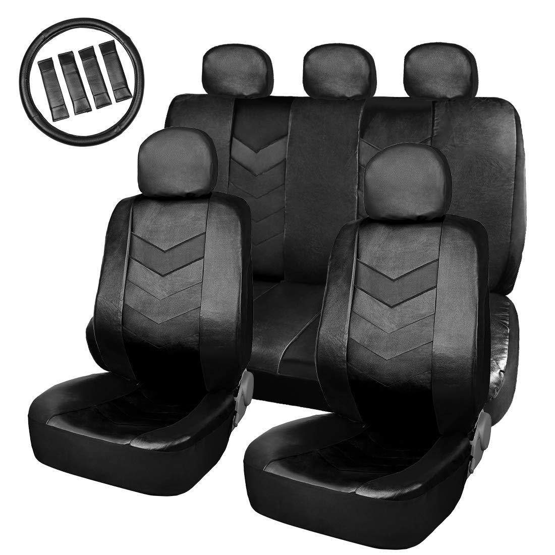 uxcell Black Faux Leather Car Auto Seat Cover Set w//Headrests Steering Wheel Cover a18042700ux0181