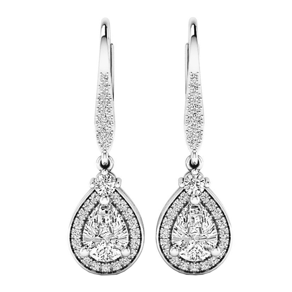 Sterling Silver 7X5 MM Each Pear Cut Lab Created White Sapphire & Real Diamond Dangling Earrings