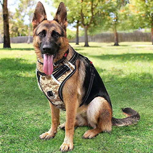 Big Dog Harness No Pull Adjustable Pet Reflective Oxford Soft Vest for Large Dogs Easy Control Harness (L, Camo) Camo Reflective Vest Harness