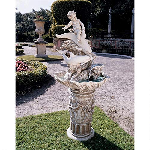 Waterfall Dolphin (Water Fountain - 4 Foot Tall Young Poseidon with Dolphins Garden Decor Fountain - Outdoor Water Feature)