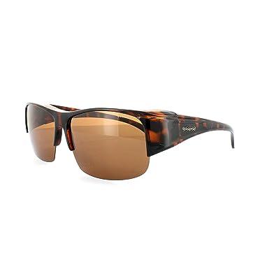 789f337fd64f Polaroid Suncovers Fitover Sunglasses P8405 0BM HE Dark Havana Copper  Polarized  Amazon.co.uk  Clothing