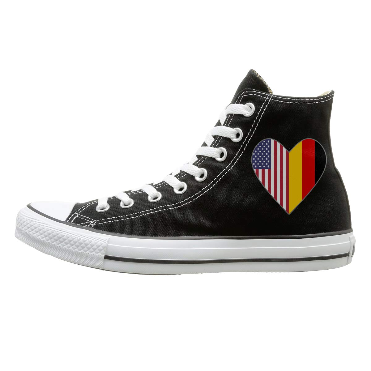 Half German Flag USA Flag Love Heart Fashion Canvas Shoes Sneakers Men's Women's High-Top Casual Shoes for Skateboarding Outdoor Sports by WI8Q-1
