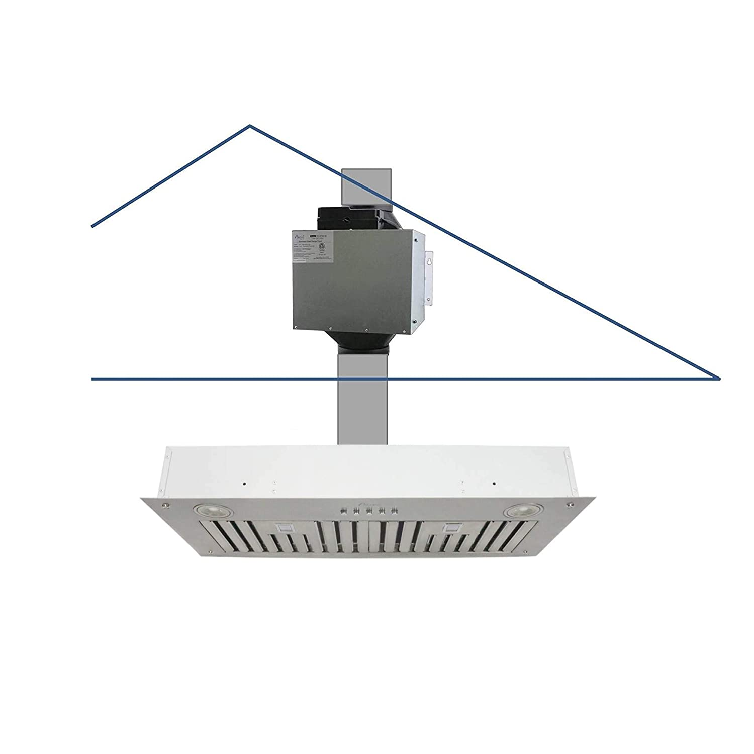 """Awoco Super Quiet Split Insert Stainless Steel Range Hood, 3-Speed, 800 CFM, LED Lights, Baffle Filters with 6"""" Blower (30""""W 6"""" Vent)"""