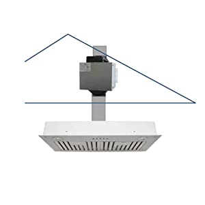 "Awoco Super Quiet Split Insert Stainless Steel Range Hood, 3-Speed, 800 CFM, LED Lights, Baffle Filters with 6"" Blower (30""W 6"" Vent)"