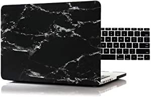 """12"""" Macbook Marble Case,2 in 1 Black Marble Pattern Matte Hard Cover with Keyboard Protector for New Macbook 12"""" with Retina Display Model: A1534 [saf]"""
