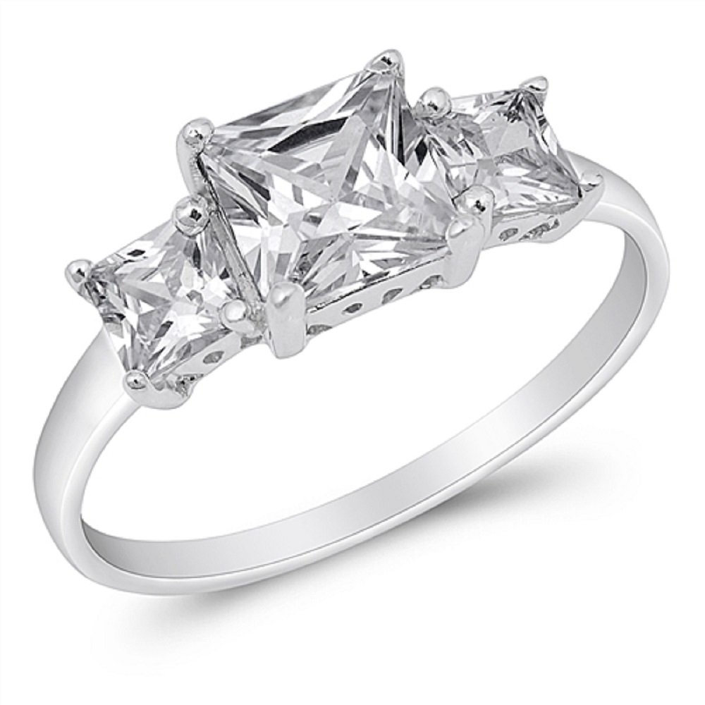 CloseoutWarehouse Princess Cut Cubic Zirconia Three Stones Ring Sterling Silver Size 15