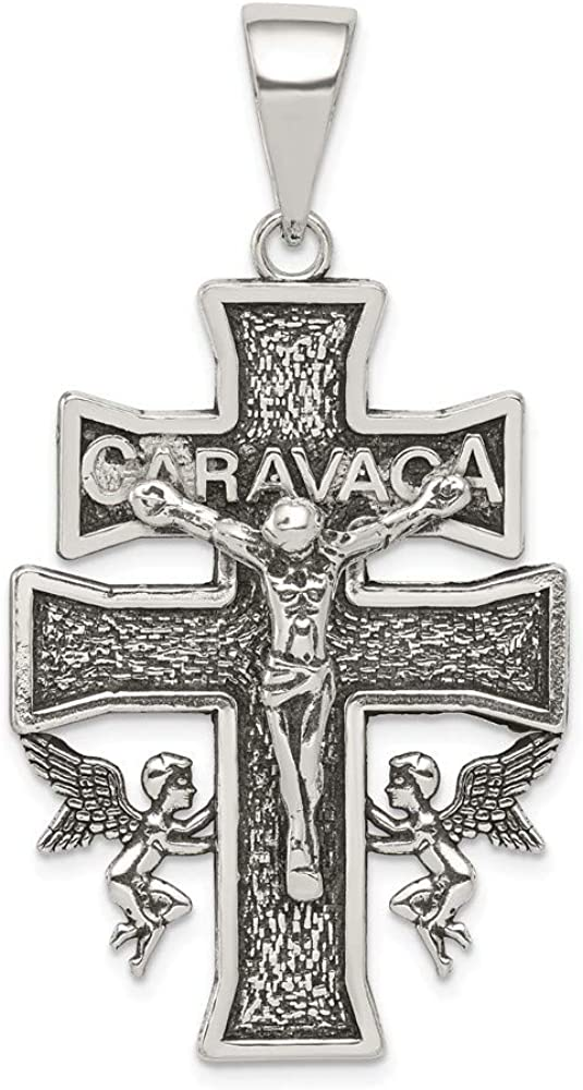 925 Sterling Silver Polished Large INRI Crucifix Flat-back Charm Pendant
