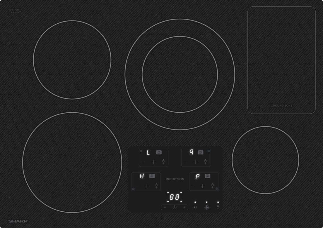 Sharp SDH3042DB 30 Inch Electric Induction Cooktop with 4 Elements, in Black