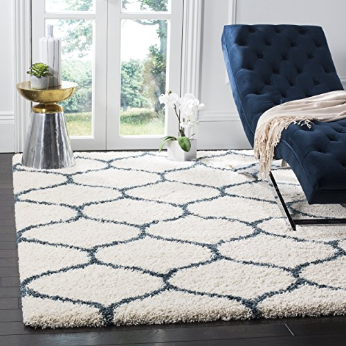 Safavieh Hudson Shag Collection SGH280T Ivory and Slate Blue Moroccan Ogee Plush Area Rug (4' x ()