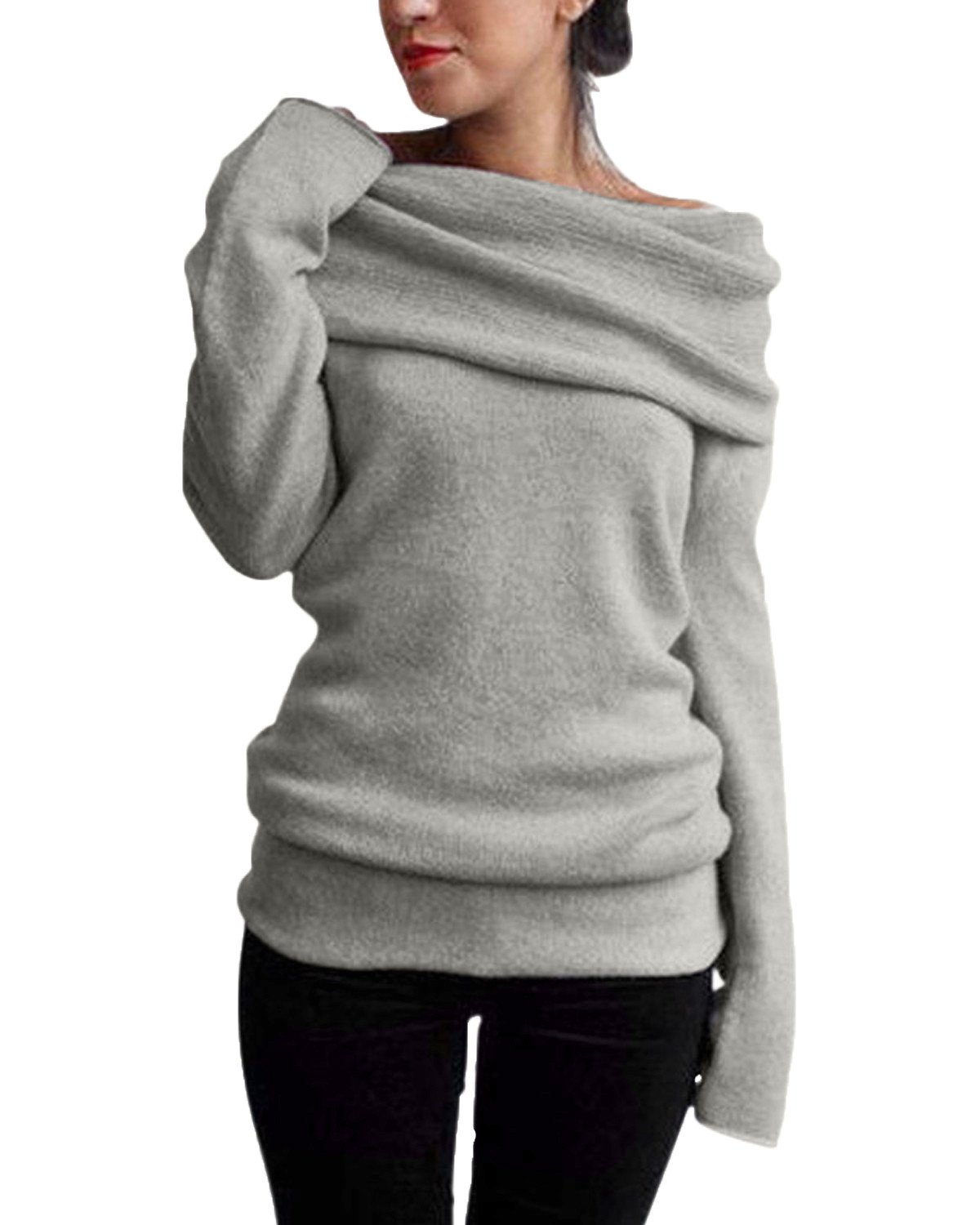 StyleDome Women Off Shoulder Cowl Neck Long Sleeve Sweater Knitted Pullover Jumper Tops ZANZEAATHENAWIN8021