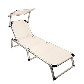 Alu Liege Sonnenliege Strandliege Gartenliege Liegestuhl Mit Sonnendach  Beige