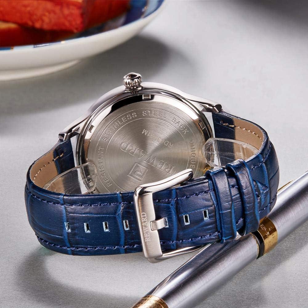 Orologi Uomo,Orologio Da Polso Automatico Impermeabile Con Cinturino In Pelle A Doppio Movimento Rose Shell Blue Leather
