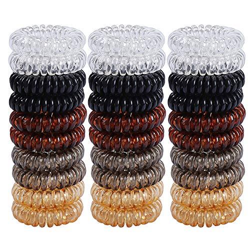 Gomas de Pelo Elasticas para Ninas de 30 Piezas Coleteros Elasticos de Colores Cola de Caballo Accesorios de Goma para Mujeres (Negro, Cafe, Naranja, Gris y Transparente)