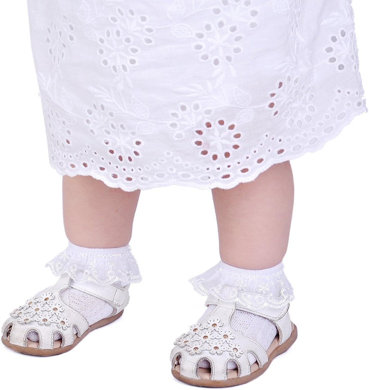 Epeius Baby-Girls Eyelet Frilly Lace Socks,Newborn//Infant//Toddler//Little Girls Pack of 2//3//4//6