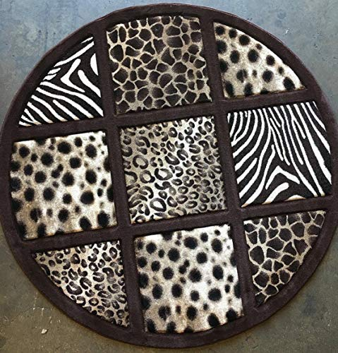 Chocolate Zebra Print - Sculpture Animal Skin Leopard & Zebra Print Chocolate Brown Design 251 (7 feet 8 inches X 7 feet 8 inches Round)
