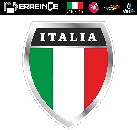 erreinge Sticker Scudetto Italia Adesivo Sagomato in PVC per Decalcomania Parete Murale Auto Moto Casco Camper Laptop cm 15