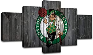MIAUEN Boston Celtics Wall Art Posters Pictures Home Decor Canvas Prints 5 Piece NBA Basketball Sports Decoration Paintings Ready to Hang(60''Wx32''H)
