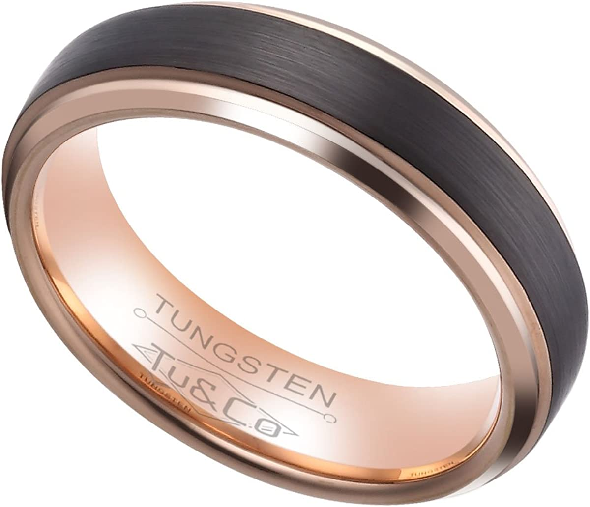 Tungsten Wedding Band Ring 6mm wide for Men Women Comfort Fit Black Brushed finish centre and 18k Rose Gold Plating Polished finish sides and inside Lifetime Satisfaction