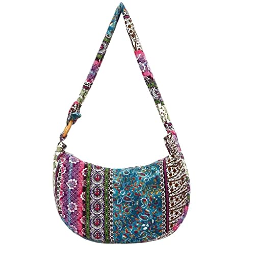 ZOMUSAR Canvas Floral Folk-Custom Women Cloth Bag Zipper Printing Crossbody  Hand Bag  Handbags  Amazon.com b10be6e1f0779