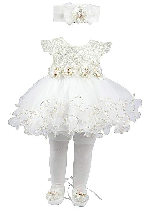 16f124e4e8 Amazon.com  Taffy Baby Girl Newborn Gold Glitter Floral Dress Gown 6 ...