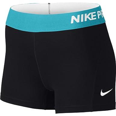 Nike Women's Pro Cool 3-Inch Training Shorts (Black/Omega Blue/Large