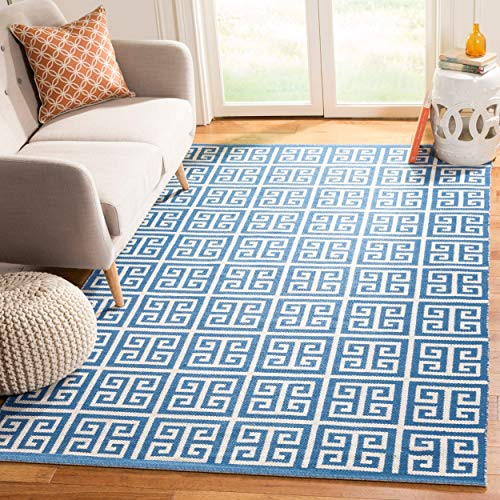 Safavieh Montauk Collection MTK724C Blue and Ivory Area Rug 4 x 6