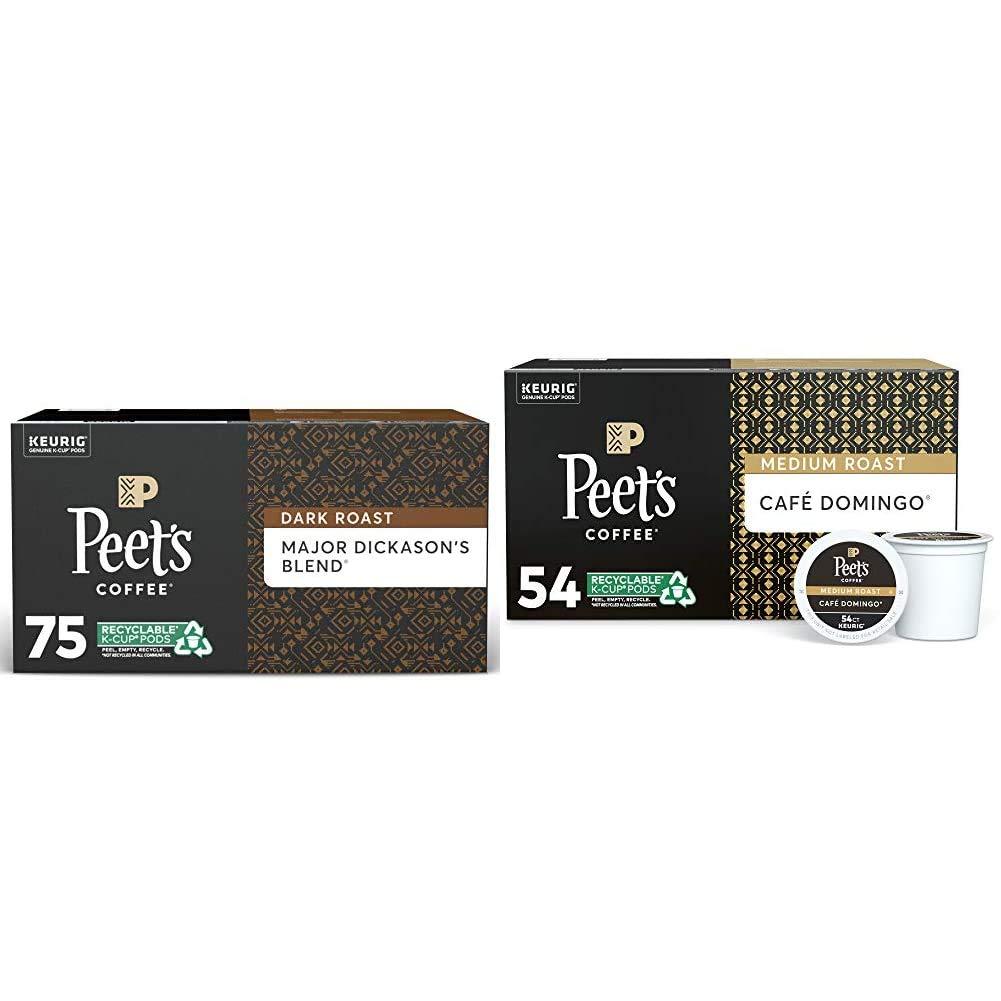 Peet's Coffee Major Dickason's Blend, Dark Roast, 75 Count Single Serve K-Cup Coffee Pods, Black & Café Domingo, Medium Roast, 54 Count Single Serve K-Cup Coffee Pods